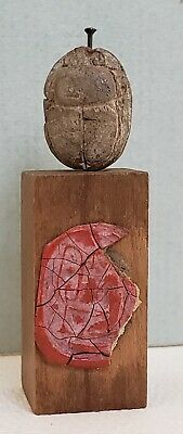 Ancient Egyptian Scarab Seal, mounted on Wooden base with Red Wax Impression