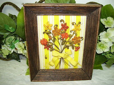 Paper Quilling Yellow Orange Flowers In Frame