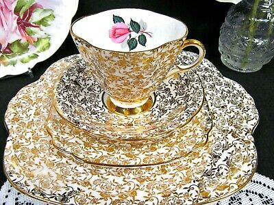 WINDSOR tea cup and saucer trio gold gilt chintz teacup pink rose & cake plate