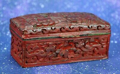 "Antique Chinese Cinnabar Snuff / Trinket Box  1 ½"" x 1 ½"" x 3 ½"" (BI#MK/191023)"