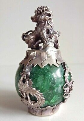 Natural green Jadeite, inlaid with dragon and phoenix, lion Statue Decoration