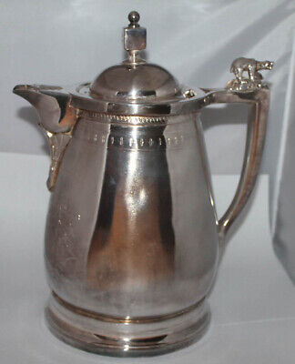 1800's Meriden B.Company Silver Plated Water Pitcher Bear Animal