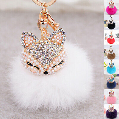 AU Rhinestone Fox Key Chain Charm with Faux Fur Pompom Fashion Accessory Gift