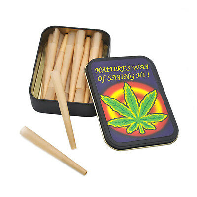 HORNET Smoking Paper Set -16X 1 1/4 Rolling Paper Cones + 1X Metal Tobacco Box
