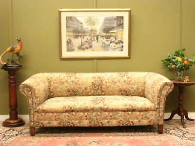 Antique Style 3 Seater Sofa Lounge ~ Beautiful Tapestry, Rolled Arms, Stud Trim.