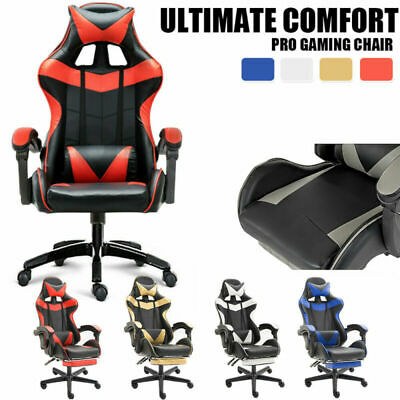 Office Chair Gaming PU Leather Computer Chairs Recliner Footrest Executive Racer