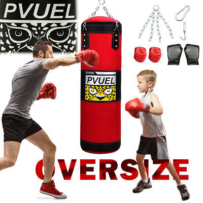 39'' Punching Bag UNFILLED Kick Boxing Heavy MMA Training Gloves Hanging Chain