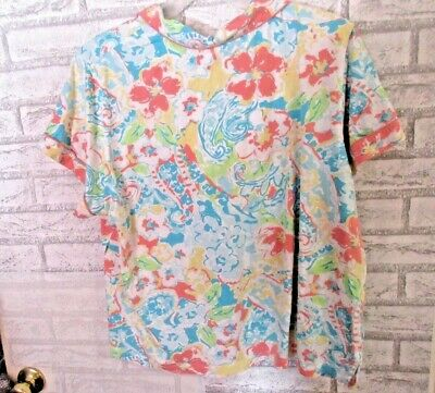 NWOT CHAPS Floral Cotton Rayon Pajama TOP Super Soft  White/Teal/Pink