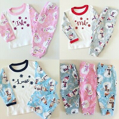 Personalised Christmas Snowman Pyjamas - Children Sizes Xmas Pj's - Cute Design!