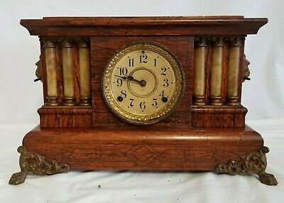 Antique Seth Thomas 6 Column Faux Marble, Egyptian Lion Head, Wood Mantle Clock