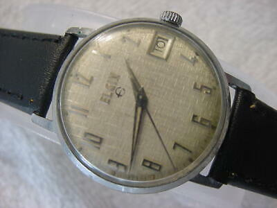 Vintage large antique Art Deco ELGIN LINEN DIAL mens watch