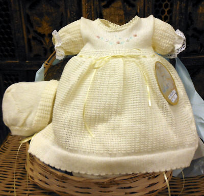 NWT Will'beth Girls Yellow Knit Dress 3pc Set with Bonnet & Bloomers Preemie