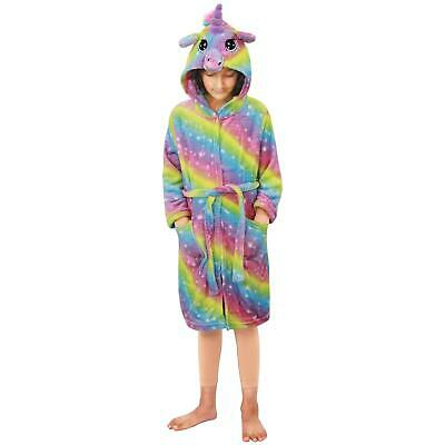 Kids Girls Unicorn Bathrobe Hooded Rainbow Galaxy Xmas Cosplay Costume Soft Suit