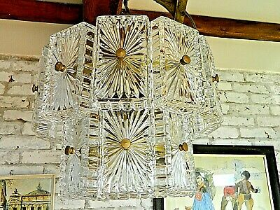 Stunning Mid Century French Multi Glass Panel/Gilt Ceiling Light Rewired for UK