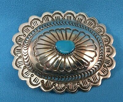 Navajo  Silver Belt Buckle with Stamped Designs & Turquoise by Carson Blackgoat