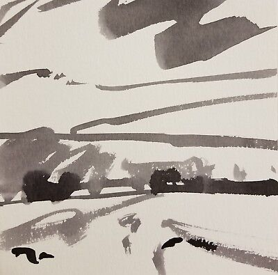 JOSE TRUJILLO - NEW MODERNISM ABSTRACT EXPRESSIONIST INK WASH Landscape 001