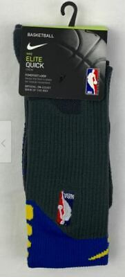 Nike Elite Quick Crew Basketball NBA Sock - Grey/Blue/Yellow, Men's Size L 8-12