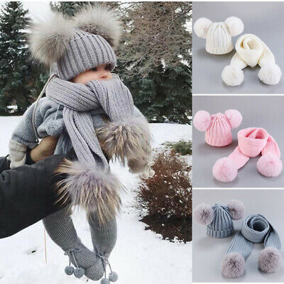 2PCS Toddler Baby Knit Hat Scarf Winter Warm Beanie Cap Double Pom Faux Fur Hat