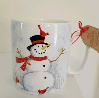 222 FIFTH White Ceramic Christmas Snowman Coffee Tea Soup Cup Mug, Big 24oz New