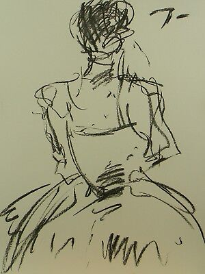 JOSE TRUJILLO EXPRESSIONISM ORIGINAL CHARCOAL DRAWING Figure ART ABSTRACT DRESS