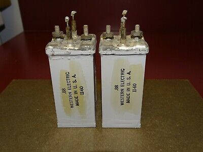 Pair, Western Electric Type 491 A Oil Capacitors, .88 MFD, Good
