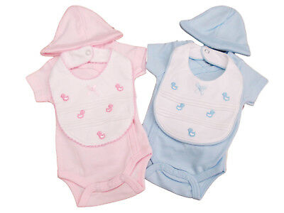 BNWT Tiny baby Premature Preemie 3 piece  duck layette set clothes  pink or blue