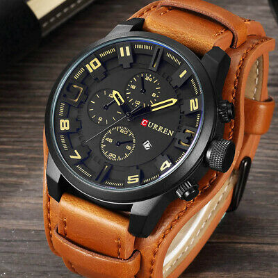 Curren Army Military Quartz Mens Leather Boy Watch Sport Wrist Watches XMAS Gift