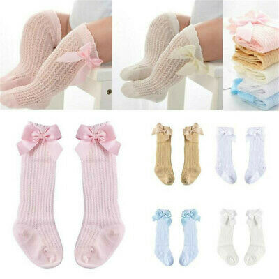 NEW Bowknot Toddler Kids Baby Girl Knee High Socks Cotton Thicken Warm Stocking