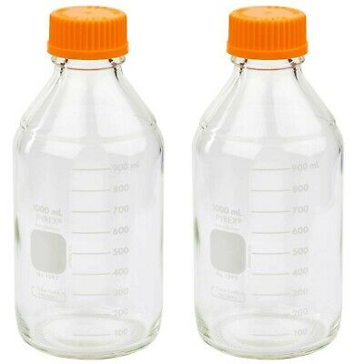 Corning PYREX #1395-1L, 1000ml Round Media Storage Bottle, with GL45 Scre... New