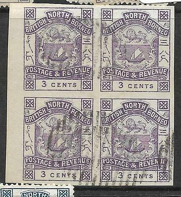 North Borneo (P3101B) 3C Arms Lion  Sg 39B Imperf Bl Of 4 Cto
