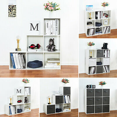6/9 Cube Wooden Bookcase Shelving Unit Display Storage Shelf  Home Office White
