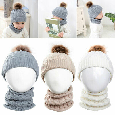Baby Toddler Kids Hat Cap Scarf Sets Boy Girl Winter Warm Knitted Crochet Beanie