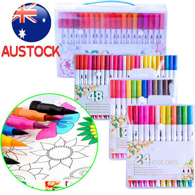 12/24/48/100 Color Dual Tip Marker Pen Set Graphic Art Sketch Brush Watercolour