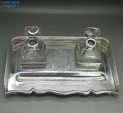 ANTIQUE VICTORIAN STUNNING SOLID STERLING SILVER TWIN INKSTAND 925g SHEFF 1892