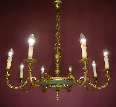 Brass French Empire Chandelier Ceiling Lamp Green Old Used 8 Light