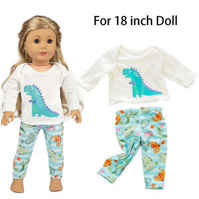 Cute Doll Clothes Dinosaur Pajamas Girl Toy For18 inch Doll Accessory Gril's Toy