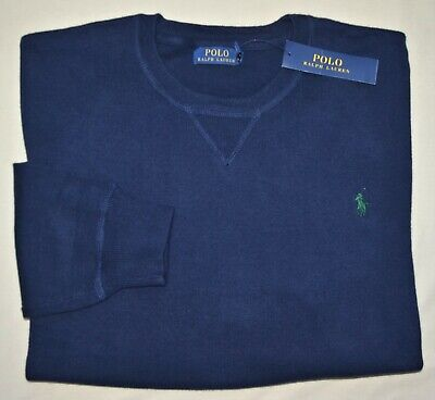 New XXL 2XL POLO RALPH LAUREN Men cotton knit crew neck sweater navy blue jumper