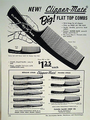Vintage Barbershop 10 DRAWINGS OF CLIPPER-MATE COMBS & FLAT TOP SIGN/AD