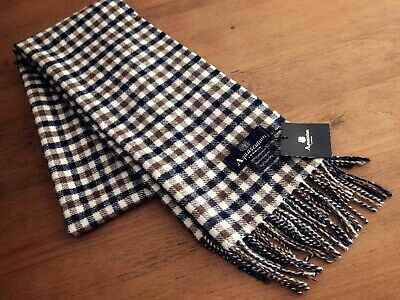 Aquascutum Classic Club check Scarf 100% lambswool