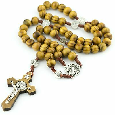 Wooden brown wood St Benedict rosary beads on cord 46cm Catholic gift