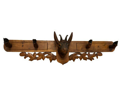 Special Antique Black Forest Wall Coat Rack, 1920's Walnut
