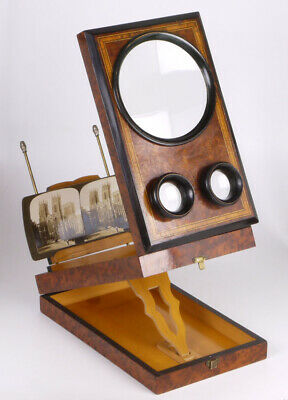 antique wooden Graphoscope stereo & mono viewer + 8.5x17 positive_3D photography