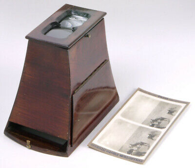 Brewster Style Wooden Stereoscope+card _antique stereo viewer f/slides&prints_3D
