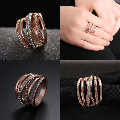 Engagement Women Finger Band Rings Multi Layer Cubic Zirconia Rose Gold Plated
