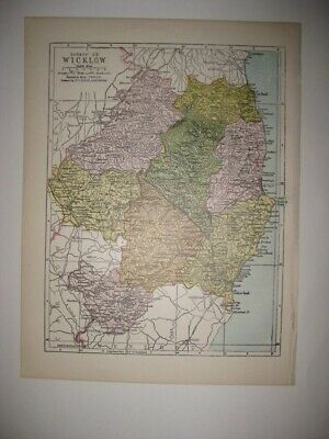 Antique 1902 County Wicklow Ireland Map Bray Greystones Superb Detailed Rare Nr