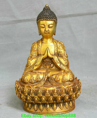"11.6"" Old Chinese Copper Buddhism Sakyamuni Shakyamuni Buddha Robe Sculpture"