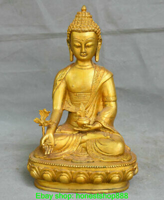 "11.6"" Old Chinese Copper Buddhism Seat Menla Medicine Buddha Sculpture"