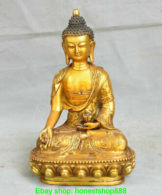 "11.6"" Old Chinese Copper Buddhism Shakyamuni Amitabha Buddha Lotus Sculpture"