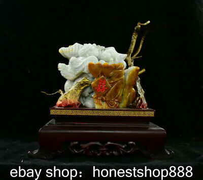 "12"" China Natural Emerald Green Jade Jadeite Carving bridegroom and bride Statue"