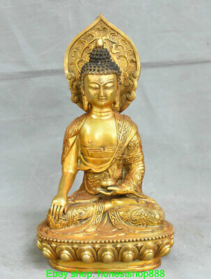 "12.8"" Old Chinese Copper Buddhism Sakyamuni Shakyamuni Buddha Sculpture"